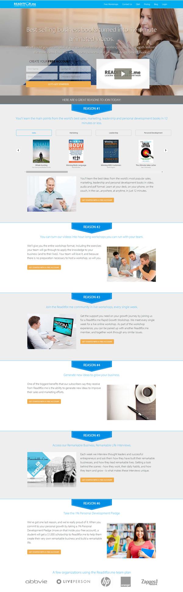 esempi landing page fantastiche da copiare Readitfor.me