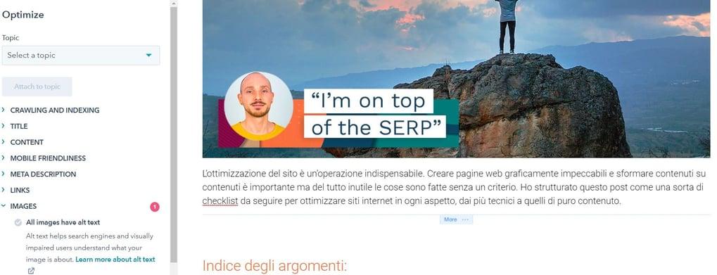 SEO con Hubspot: guida ottimizzazione SEO on page