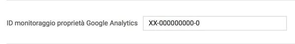 ID monitoraggio google analytics