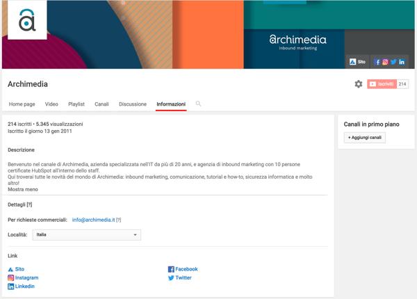 descrizione canale youtube