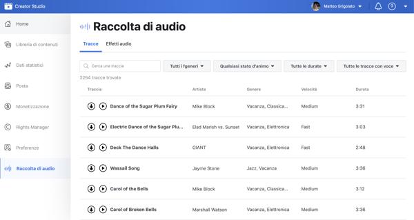 facebook raccolta audio