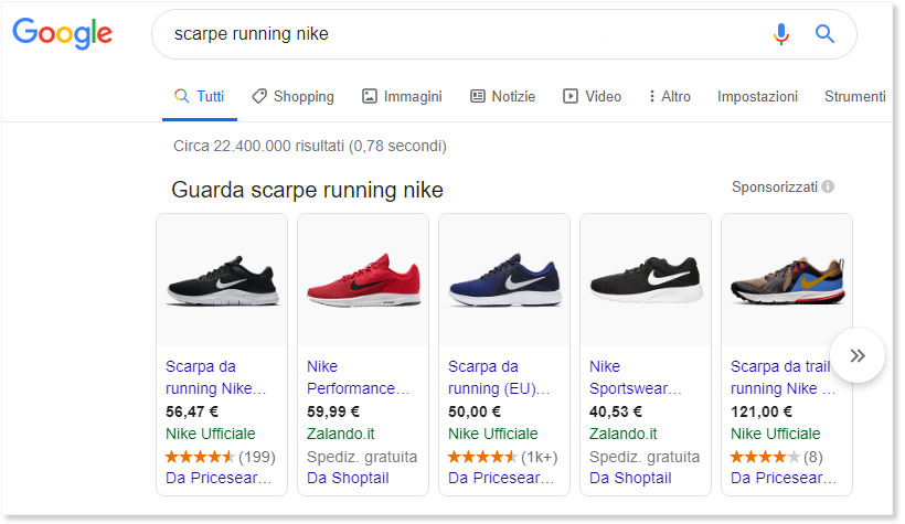 Ecommerce web italia esempio Google shopping