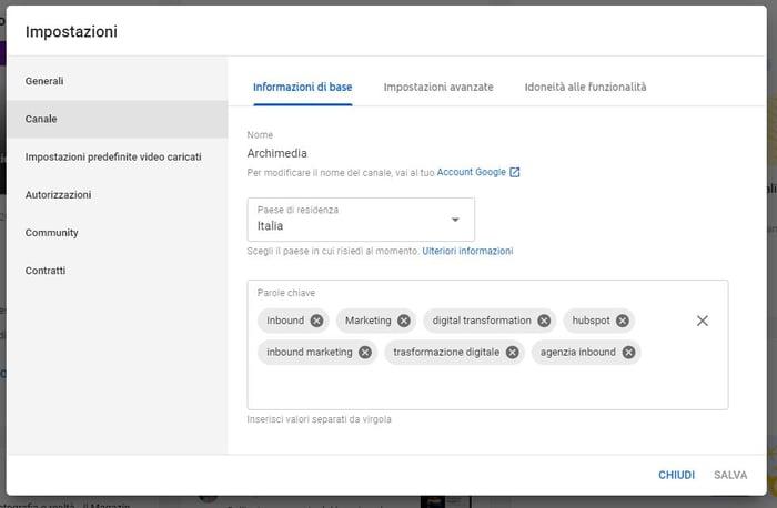 come aumentarevisualizzazioni youtube - keyword del canale