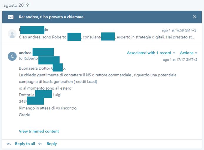 esempio sequenze email hubspot