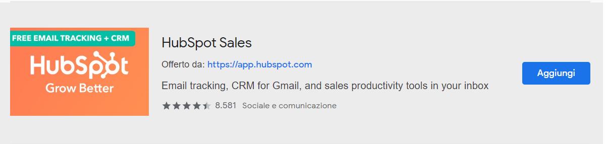 estensione HubSpot Sales per Gmail