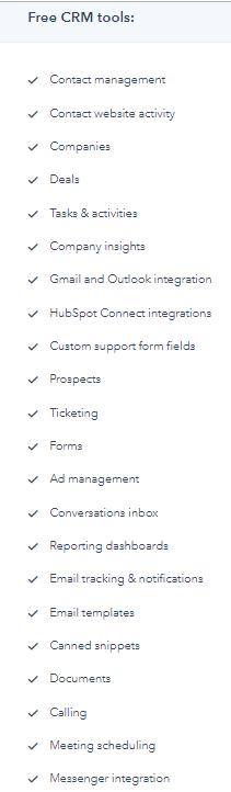 funzionalità hubspot contatti free